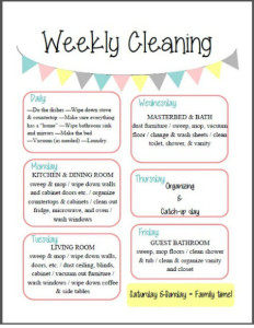 Cleaning time table