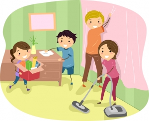 family members cleaning